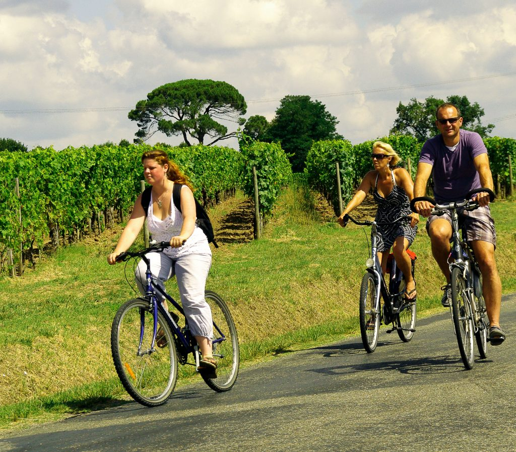 Cycling through the vineyards of Bordeaux Y.Serrano---CDT-Gironde